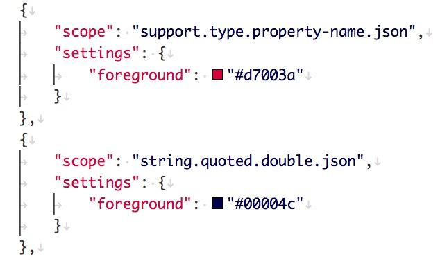 json要素のシンタックスハイライトを編集したようす