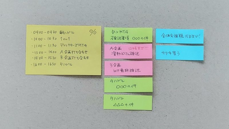 「実作業」「朝会・夕会での連絡事項」「他タスク」に分けて付箋の色を変えていく